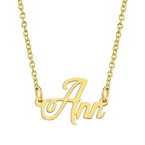KISPER Collar con colgante de nombre personalizado de acero inoxidable chapado en oro de 18 quilates