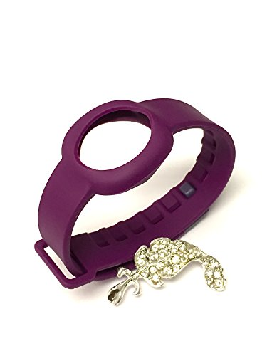 NICKSTON 1pc Purple Color Replacement Strap Compatible with Jawbone UP Move Only/No Tracker/Wireless Activity Bracelet Sport Wristband Bracelet Sport Arm Band Armband + Nice Crystals Feather Brooch