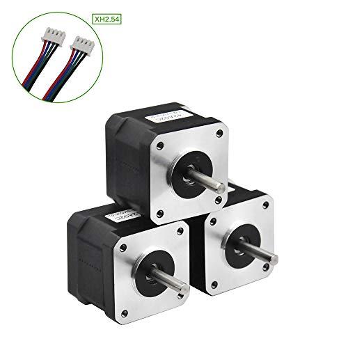 Rtelligent 42A02C Schrittmotor 2 Phasen Nema 17 Arduino Mini Stepping 42 Ncm 1,5 A Strom 38 mm Länge Bipolar 4,5 mm Welle mit 30 cm Kabel für 3D-Druck CNC (42A02C-XH2.54, 3)