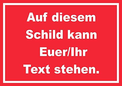 Schild mit Wunschtext waagerecht Text Weiss Hintergrund rot A4 (210x297mm)