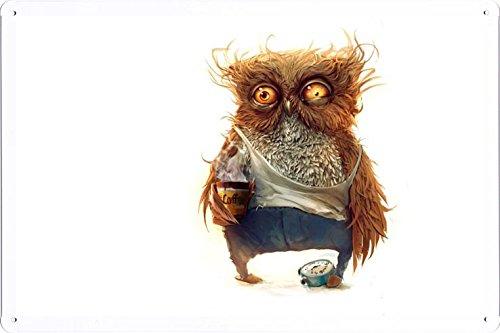 Abstract Sign - Owl Coffee Alarm Clock 4778 Metal Tin Poster