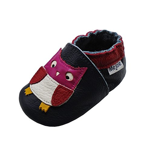 Mejale - Zapatillas de piel suave para niños y bebés, diseño de pata de 0 a 36 meses, azul marino, 18-24 mois