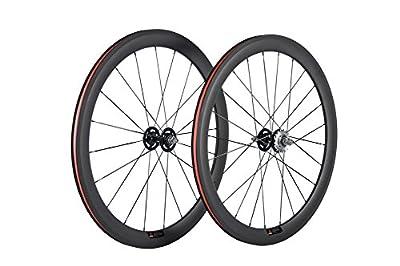 Queen Bike 50mm Carbon Fiber Track Wheel Matte Finish 3K Fixed Gear Wheelset with Cog