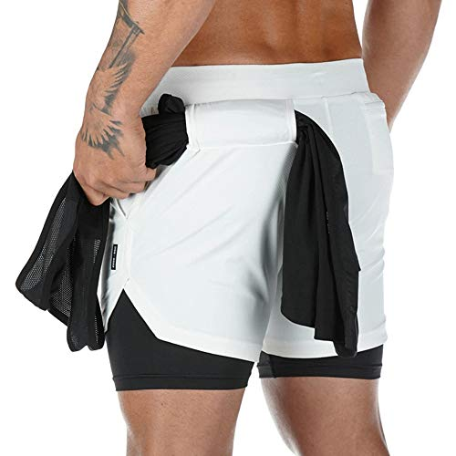 Superora Pantalones Cortos Hombre Deporte Chándal Deportivos Compresión Interna con Bolsillo Incorporado y Bolsillo Transpiración de Secado Rápido Blanco