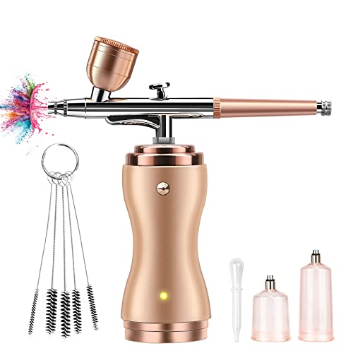 Airbrush Kit with Compressor, Portable Cordless Air Brush Gun Set for Painting, 30PSI Gravity Feed Dual Action Mini Airbrush w/ 0.3mm Tip for Makeup, Model, Nail, Tattoo, Cake Decorating, Rechargeable