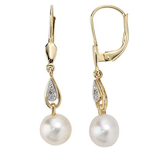 JOBO Damen-Ohrhänger aus 585 Gold mit Perlen und 2 Diamanten