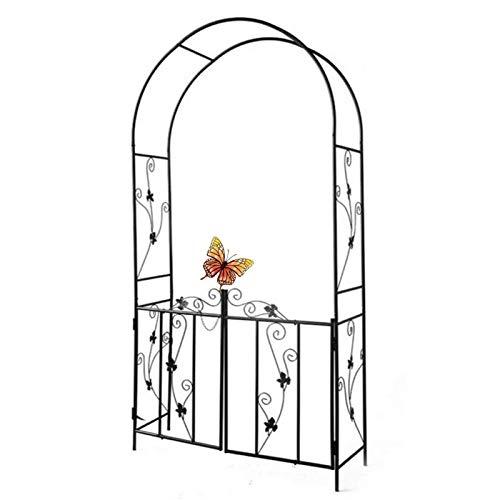HLMBQ Arco de jardín y puerta, enrejado de metal para árbol de rosas, arco de boda para patio trasero, varias plantas trepadoras, color negro, 214 x 110 x 37 cm