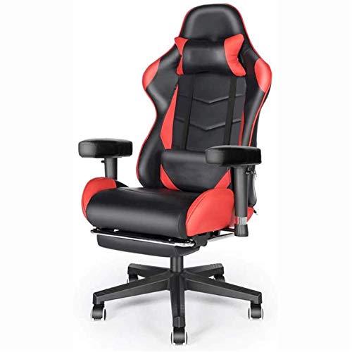 Computerspielstühle Videospielstühle Home-Office-Schreibtischstühle mit Fußstütze, PU-Leder-Rennstuhl mit hoher Rückenlehne, Kissen und Lendenwirbelsäule
