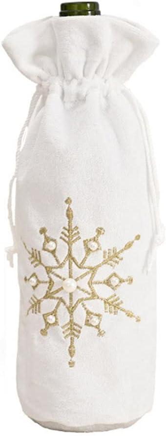 Bolsas de Regalo de Botella de Vino con cordón para Bodas, favores de Fiesta, Oro navideño