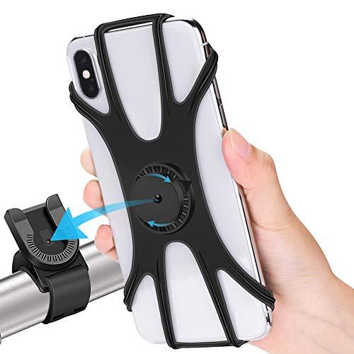 RIRGI Handyhalterung Fahrrad abnehmbar 360°drehbare Motorrad Handyhalterung aus Silikon für iPhone 11/X/Xr/Xs/8/7/6 Plus, Huawei, Samsung Galaxy und alle 4,0-6,5 Zoll Smartphone
