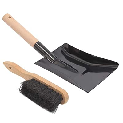 Aboniris Coal Shovel and Hearth Brush Set Made of Natural Wood and Coco Bristles, Hearth Tidy Set, Fireplace Shovel and Brush, Fireplace Tool Set, Metal Brush Pan Set, Fireplace Tools