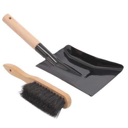 Aboniris Coal Shovel and Hearth Brush Set Made of Natural Wood and Coco Bristles, Hearth Tidy Set, Fireplace Shovel and Brush, Fireplace Tool Set, Metal Brush Pan Set, Fireplace Tools, Firepit Tools