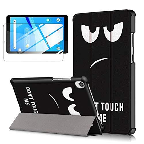 LJSM Funda + Protector Pantalla para Lenovo Tab M8 HD TB-8505F/X 8.0' - Vidrio Templado, Carcasa Silicona Smart Cover con Soporte Función Caso PU Flip Case - Eyes