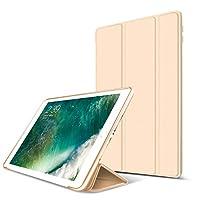 【液晶保護フィルム付き】 新しい iPad 9.7 2017 ケース 手帳型 横開き 三つ折り PUレザー + シリコン 耐衝撃 スタンド機能 オートスリップ機能 マグネット 磁気吸着 軽量 薄型 ブランド 正規品 (ゴールド)