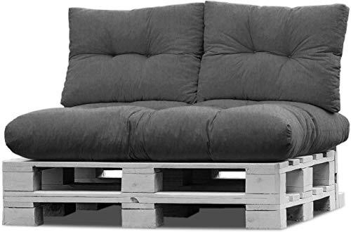 normani Palettenkissen Set Sofa Sitzkissen mit Rückenkissen Outdoor Palettenauflagen (Sitzkissen Gesteppt 120x80) Farbe Anthrazit