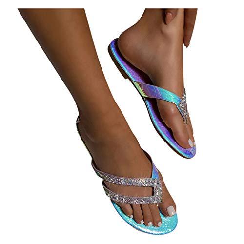 SUNNSEAN Sandalen Damen mit Absatz Sommer Pumps High Heels Sandaletten Strass Elegante Pumps Glitzer Hausschuh Slipper Sandals Abendschuhe Flip Flops