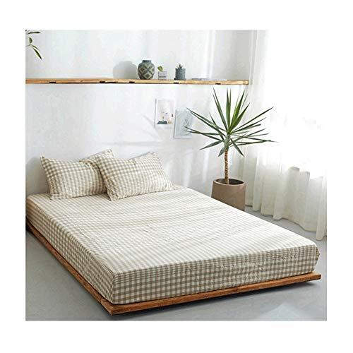 MZP Sábana Bajera Ajustable elástica 100% algodón ultrasuave para una Cama 120/150/180cm Double Fitted Bed Sheets Profundidad 25cm (Color : Grid Rice, Size : 120×200cm)