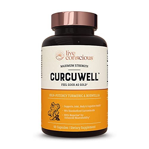 Live Conscious CurcuWell - Curcumin and Boswellia Blend | Maximum Strength Joint, Body and Cognitive Support - 30 Day Supply