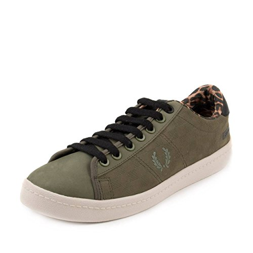 Fred Perry Mens Bodega Reissue Tennis Shoe 2 Olive Green/Black-Leopard Leather Size 8