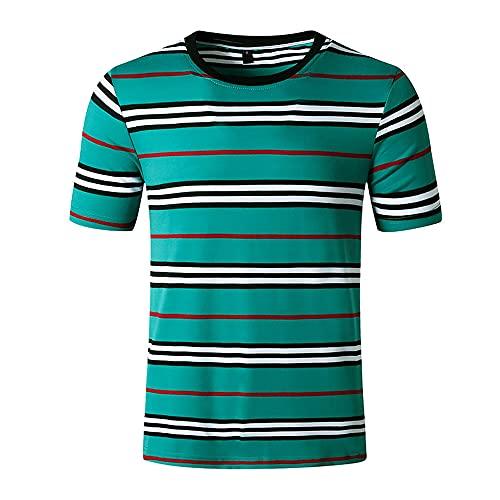Shirt Ocio Hombre Básica A Rayas Cuello Redondo Hombre Shirt Verano Corte Ajustado Empalme Manga Corta Hombre T-Shirt Elástica Cómoda Tendencia Moda Hombre Shirt Playa B-Blue L
