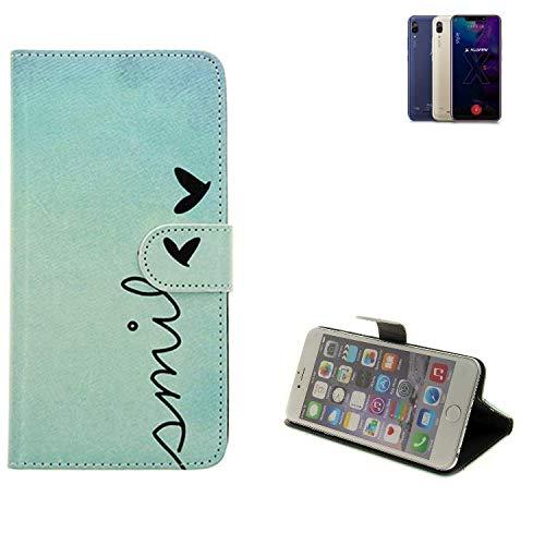 K-S-Trade® Schutzhülle Für Allview Soul X5 Style Hülle Wallet Case Flip Cover Tasche Bookstyle Etui Handyhülle ''Smile'' Türkis Standfunktion Kameraschutz (1Stk)