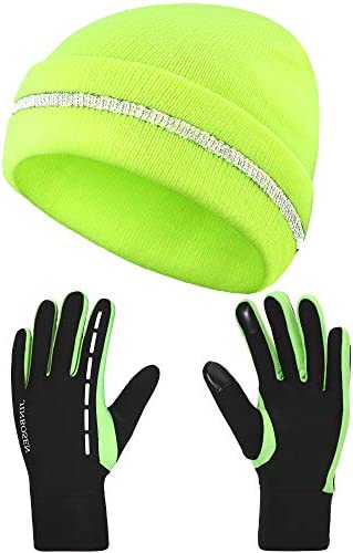 High Elasticity Reflective Knit Cap and Reflective Touch Screen Gloves Cold Proof and Warm Hat product image