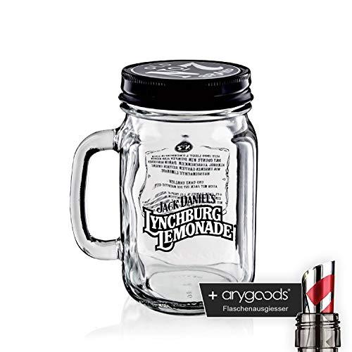 Jack Daniels Glas Gläser Lynchburg Krug mit Deckel Longdrink Gastro Bar Deko NEU + anygoods Flaschenausgiesser