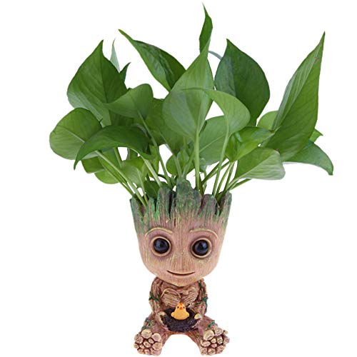 SLOCME Baby Groot Flower Pot - Guardians of The Galaxy Groot for Pen Holder、Desk Ornament、Plants Pot with Drainage Hole