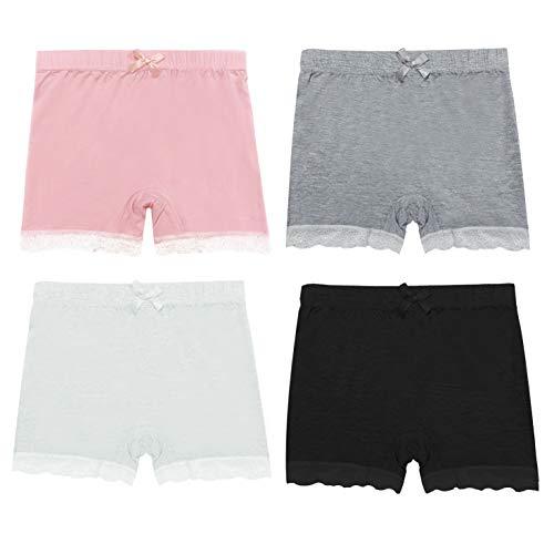 Girls Lace Shorts Under Dress Dance Bike Shorts for Playground Gym Sports (White, Pink, Grey, Black, 4T-5T)