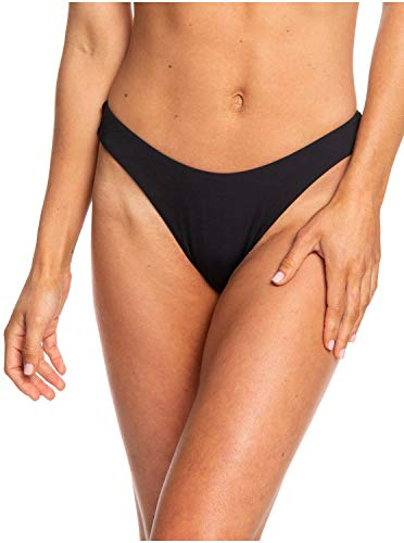 Roxy Women's Solid Beach Classics Regular High Leg Bikini Bottom, True Black 211, XS