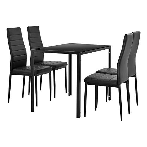 [en.casa] Moderner Esstisch schwarz + 4er Stuhlset schwarz