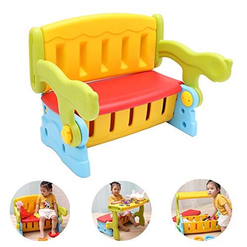 LIANGJUN Tisch Stuhl for Kinder Kindertisch Hocker 2 In 1 Baby Esstisch Rückenlehne Aufbewahrungsstuhl Gemälde Spiel Schreibtisch Buchen Sicherheit Stabil (Color : A, Size : 62CMX49CM)