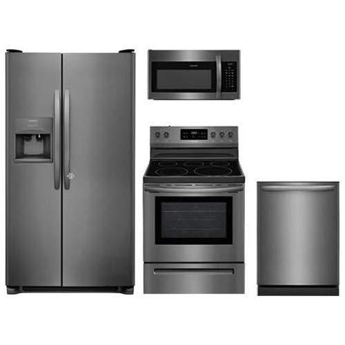 "Frigidaire 4-Piece Kitchen Set FFSS2615TD with 36"" Side by Side Refrigerator, FFEF3054TD 30"" Electric Range, FFMV1645TD 30"" Over-the-Range Microwave, FFID2426TD 24"" Dishwasher in Stainless Steel"