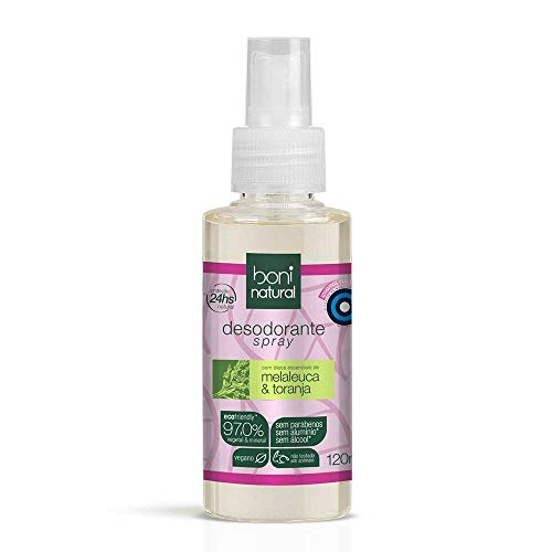 Desodorante Spray Natural e Vegano, Melaleuca e Toranja, Saudável, Boni Natural, Transparente, 120 ml