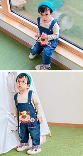 Baby Mädchen Denim Overall Jeans Hose mit Hosenträger Kinder Baumwolle Latzhose Kaninchen Butterfly – 100 - 6