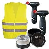 SOS LIGHT PK2696 Pack 2 MARTILLOS, portátil de Emergencia, para Coche: rompeventanas y Cortador de cinturón de Seguridad, Regalo, Chaleco Reflectante HOMOLOGADO