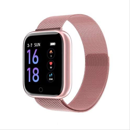 Vrouwen Waterdicht Smart Watch Bluetooth Smartwatch Voor Ios Android Iphone Hartslagmeter Fitness Tracker Staal roze