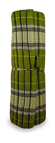 livasia Kapok Liegematte der Marke Asia Wohnstudio, 200cm x 110cm x 4,5cm; Rollmatte BZW. Yogamatte, Thaimatte, Thaikissen als asiatische Rollmatratze (grün)