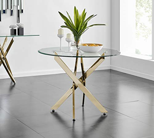 Furniturebox UK Novara Modern Stylish Round Gold Metal And Clear Glass Dining Table And 4 Contemporary Gold Milan Dining Chairs Set (Dining Table Only)