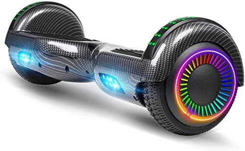 ACBK - Scooter Elettrico Hoverboard Autobilanciato Basic con Ruote da 6.5'' (Luci a LED Integrate) velocità Massima: 10-12 km/h - Autonomia 10-20 km - Carico sopportato: 20-100kg (Nero)