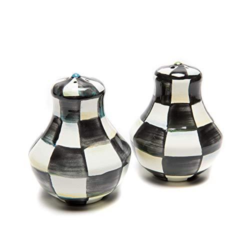 MacKenzie-Childs Courtly Check Salt and Pepper Shakers, Enamel Shaker Set