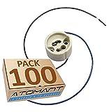 LED ATOMANT Pack 100x Portalamparas para Gu10 con Cable Extralargo 20 Centimetros. color blanco, Standard, 20 Cm