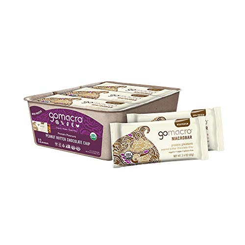 GoMacro MacroBar Organic Vegan Protein Bars  Peanut Butter Chocolate Chip 24 Ounce Bars 12 Count