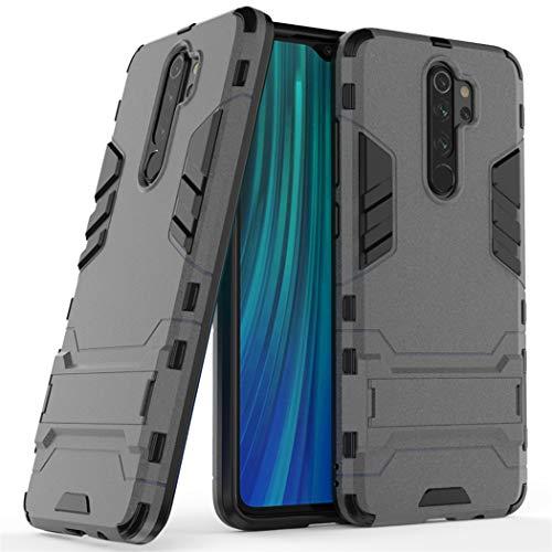 Funda para Xiaomi Redmi Note 8 Pro (6,53 Pulgadas) 2 en 1 Híbrida Rugged Armor Case Choque Absorción Protección Dual Layer Bumper Carcasa con Pata de Cabra (Gris)