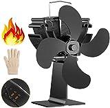 Kaminventilator,Stromloser 4-flügeliger Ofenventilator, Dr.meter Kamin Ventilator für Holz-/ Holzbrenner oder Kamin mit freundlichem Temp Pad & Handschuh