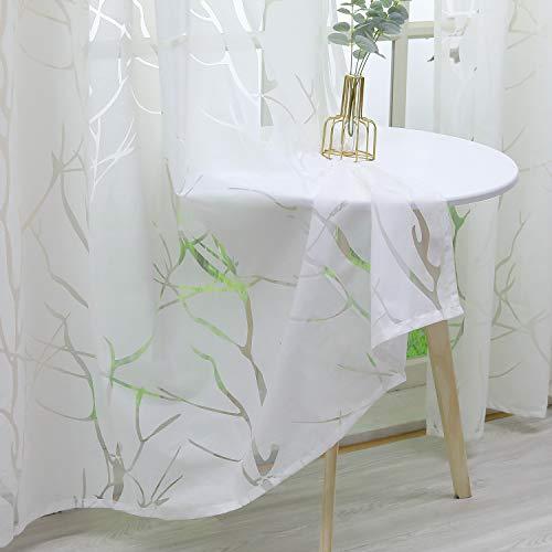 Heichkell Gardine mit Ösen aus Voile Transparente Ausbrenner Vorhang 1 Stück Modern Ösenschal Fensterschal in Baumäste Muster Weiß BxH 140x225 cm