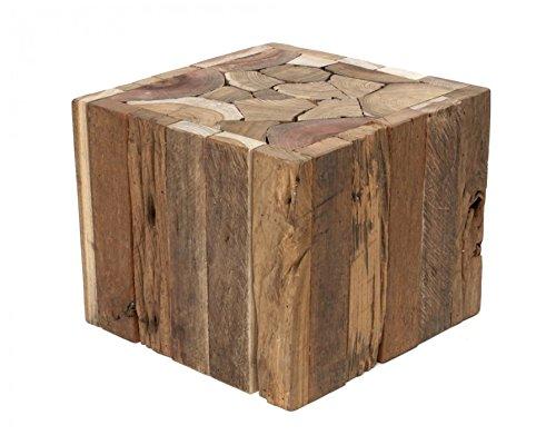 Brillibrum Design Kleiner Treibholz-Hocker Beistelltisch aus Mischholz Treibholzstücke quadratisch Holzblock Natur Sitzhocker massiv Ablage Blumenhocker 25 x 30 x 30 cm