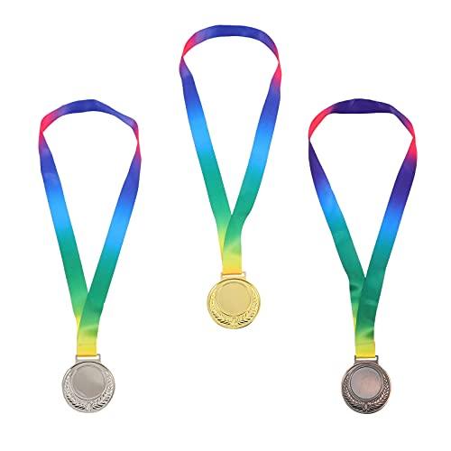 Abaodam 3 Piezas de Medallas Ganadoras de Plata de Oro de Estilo Olimpico con Cinta para Espectáculo de Talento Deportivo Fiesta de Cumpleaños Gimnástica