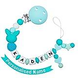 MCGMITT Schnullerkette mit Namen Jungen Maximal 9 Buchstaben Longe Personalisierte Zahnen Silikon Selber Mint (turquoise)