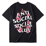 YEEXCD Männer Frauen T-Shirt Anti Social Social Club Blumen Schmetterlings-Druck-Kurzschluss-Hülsen-beiläufigen Baumwollrundhalsausschnitt Paar-T-Shirts,Schwarz,XL